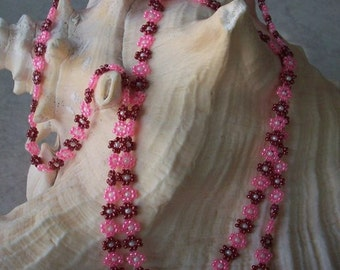 "Hand Beaded Daisy Chain Necklace  ~  32"" Daisy Chain Beaded Necklace in Rose and Pink"