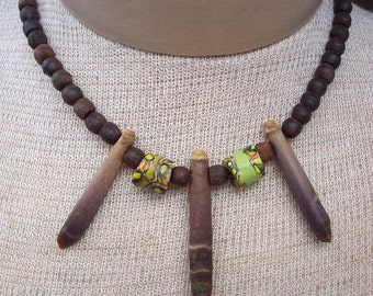 Authentic Hippie Necklace with Sea Urchin Spines and Genuine African Trade Beads