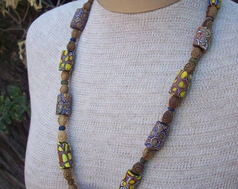 Authentic African Trade Beads with Carved Olive Wood Necklace