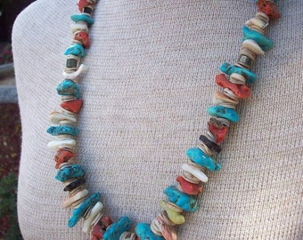 "Turquoise, Coral, Fetish, Shell, Abalone, Heishi and More 26"" Southwest Necklace"