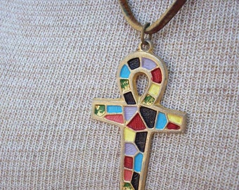 Ankh Cross Mosaic on Leather  Circa 1970's