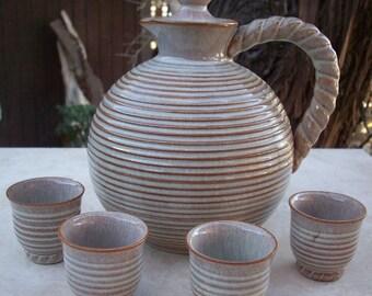 Vintage Milk Glazed Stoneware Sake Set