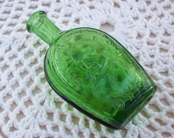 Wheaton Bitters Bottle  ~  Miniature Green Wheaton Benjamin Franklin Bitters Bottle