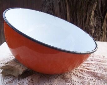 Vintage Large Mid Century Orange and White Enamelware Bowl