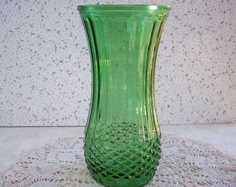 Green Hoosier Glass Vase with Diamond Pattern Large Vase