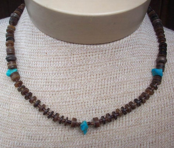 Vintage Tortoise Shell Heishi and Turquoise Necklace