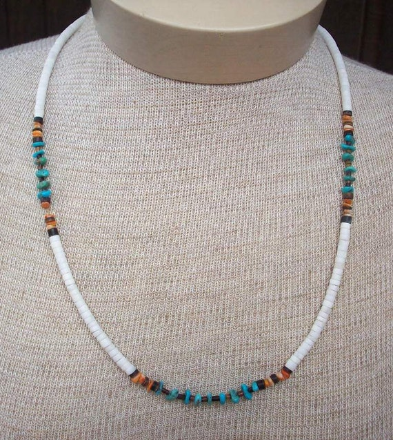 Heishi Shell and Turquoise Genuine Native American Made Necklace  ~  Shell and Turquoise Stone Necklace