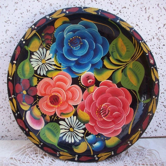 Vintage Mexican Batea Folk Art Hand Painted Wooden Bowl or Plate