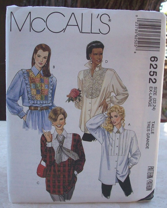 McCall's Misses Shirt Pattern 6252 Size X-Large (22-24)