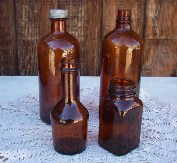 Vintage Amber Glass Bottle Collection