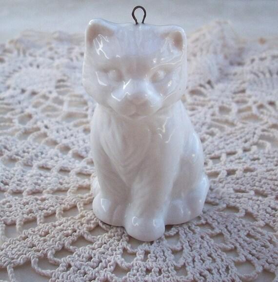 Vintage White Porcelain Cat Ornament
