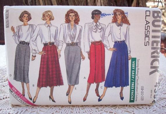 Vintage Butterick Classics Skirt Pattern 4392 Plus Size 18, 20, 22 Dated 1989