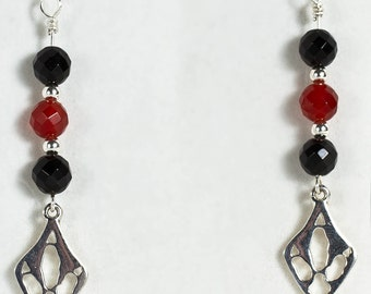 Emu Print, Silver, Onyx and Carnelian Drop Earrings