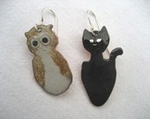 The Owl and the Pussycat enamelled earrings