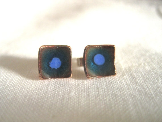 Deep blue square enamelled copper studs