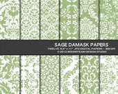 Sage Damask Digital Paper 8.5x11 Personal or Commercial Use