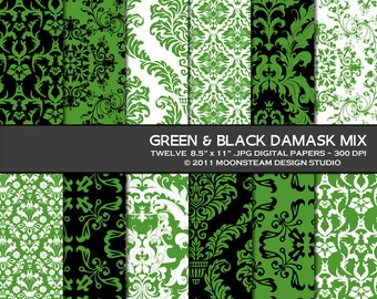 Green Black Damask Digital Papers 8.5x11 or 12x12 or A4 Personal or Commercial Use