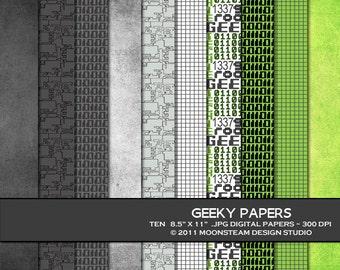 Geek digital paper, geek digital scrapbook paper, geek digital backgrounds
