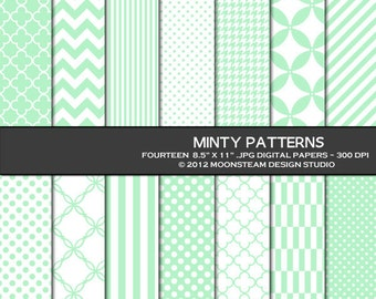 Minty Patterned Digital Papers Mint Green Digital Backgrounds  8.5x11 12x12 A4, Personal or Commercial Use