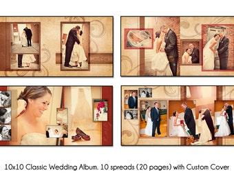 PSD Wedding Album Template - AUTUMN SWIRL - 12x12 10spread (20 page) design with custom cover