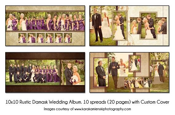 PSD Wedding Album Template RUSTIC DAMASK 10x10 10spread 20