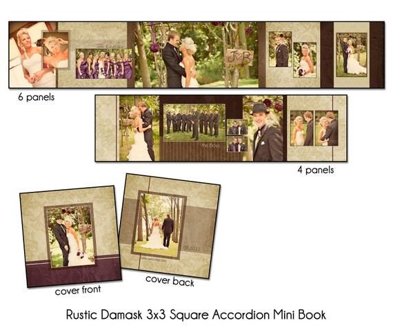 PSD Wedding Template - RUSTIC DAMASK - 3x3 Square Accordion Mini Book