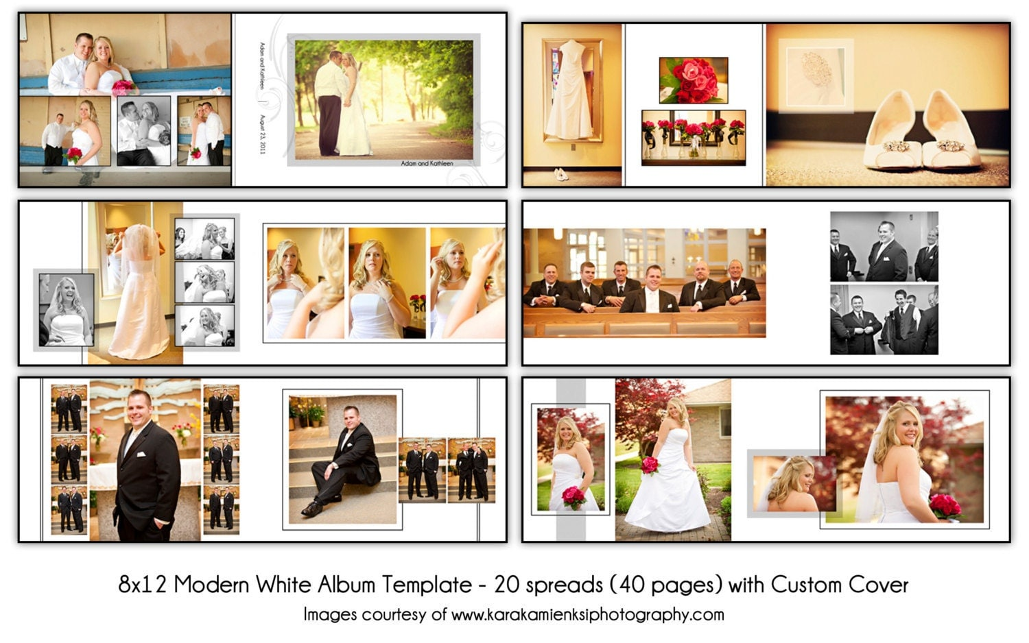 MODERN WHITE 8x12 Digital Wedding Album Template 20 spread