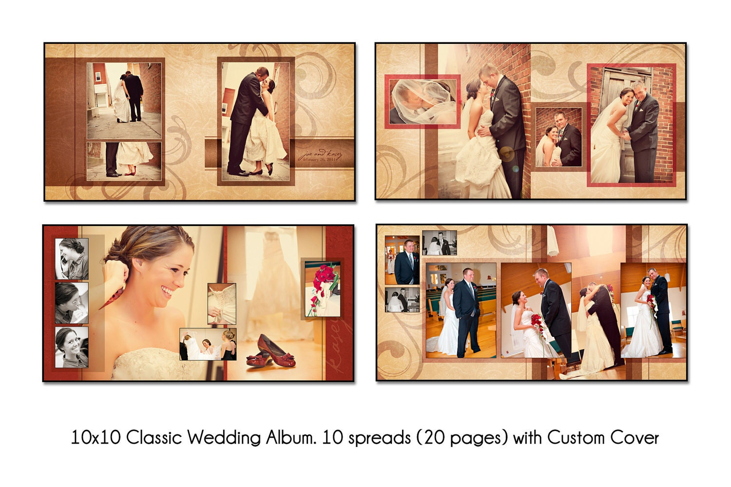 Psd wedding album template autumn swirl 12x12 10spread 20 - Customiser album photo ...