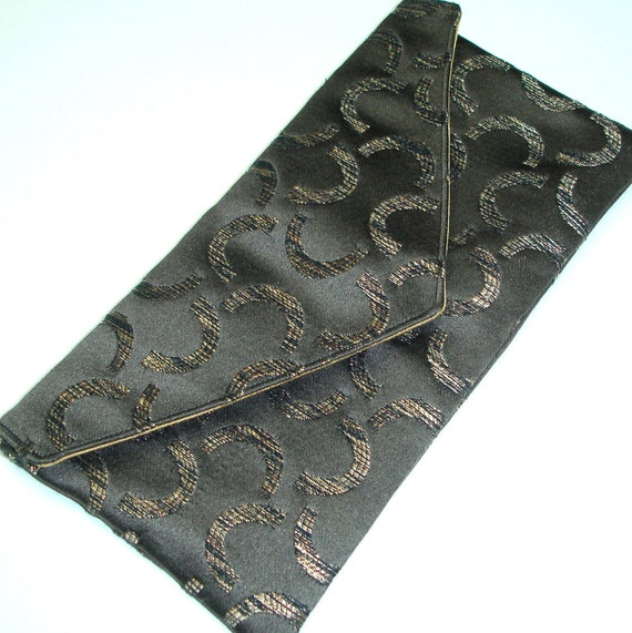 Evening clutch, Envelope - black gold - magnetic closure - READY TO SHIP