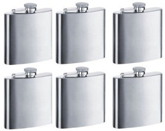 Set of 11 - 6oz. Custom Engraved Stainless Steel Flasks