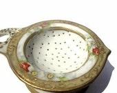 Antique Nippon Porcelain Tea Strainer with Holder