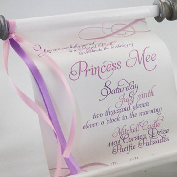 Items Similar To Princess Scroll Invitation On Etsy
