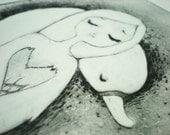 Drypoint Printmaking // White Swan /// Signed printmaking