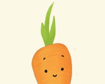 carrot art print // Lovely vegetables series // 6x8 print
