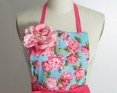 Bold Pink with Floral Print Full Apron