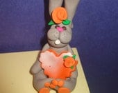 Easter decor Bunny Rabbit with heart and flower