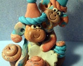 Birthday Cake topper monkey and twin or friend