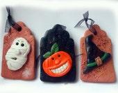 Halloween ornament set three different tags
