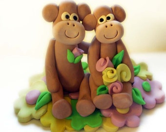 Wedding Cake topper monkeys on yellow and pink flowers Polymer Clay  2016