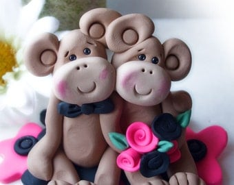 Monkey wedding cake topper ,with hot pink and black flowers, custom design, Polymer Clay  2016