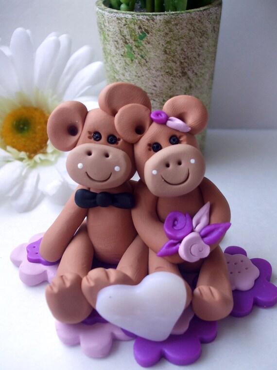 Wedding Cake topper monkeys bride and groom, Polymer Clay  2016
