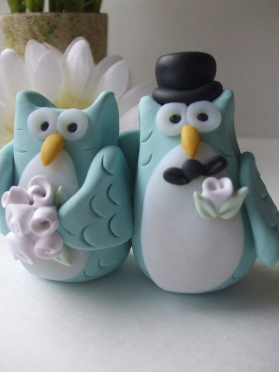 Owl wedding cake topper, polymer clay, customized for you