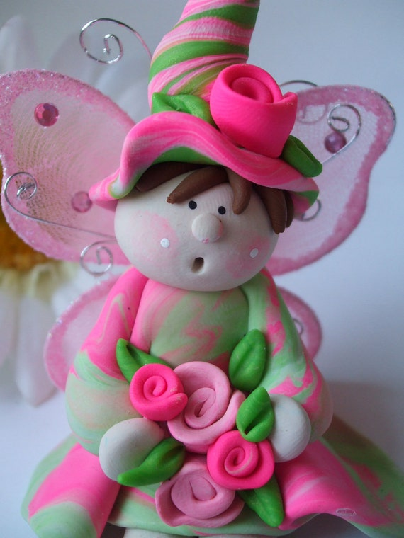 Pink and green polymer clay fairy handmade