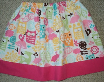 Girls Skirt - Baby Skirt - Toddler Skirt - Woodland Animals Skirt - Owl Skirt - Made To Order Size 24 Months To Girls Size 6