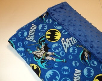 "Batman Baby Blanket, Security Blanket 19""X23"" Lovey, Superhero Baby, Geek Baby Gift, Minky Blanket, Baby Shower Gift, Made To Order"