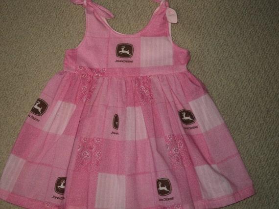 RESERVED ORDER FOR: Tasha.  John Deere Pink Dress Size 12 Months. Pink And Brown