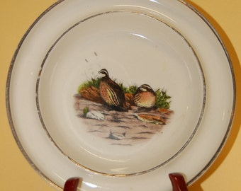 Antique Pheasant  hand colored Hickok Ashtray