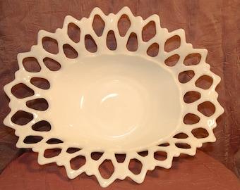 Westmoreland Open Lace Edge Milk Glass Bowl