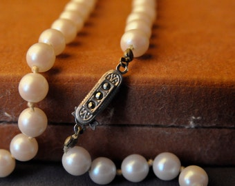 Lovely Vintage Pearl Necklace with Marcasite Clasp