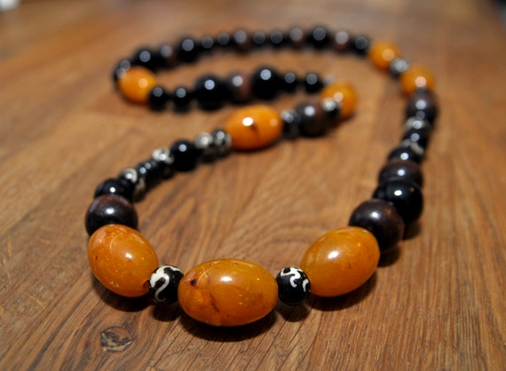 Vintage Amber Black & Wood Necklace